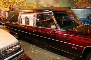 hearse with flames