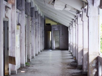 One of the hallways inside the Old Changi Hospital