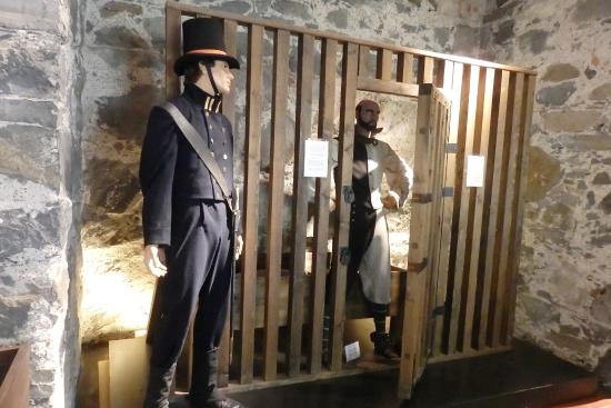 A photo showing an exhibit portraying Akershus Castle as a prison