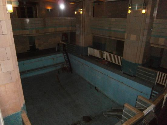 A photo showing one of the pools at the Queen Mary no longer used today