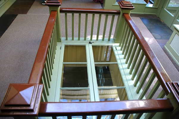 A window on the floor at the Winchester Mystery House