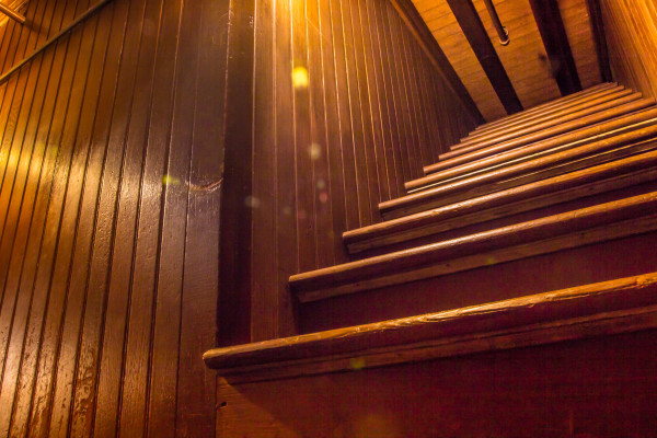 One of the stairs that lead to the ceiling at the Winchester Mystery House