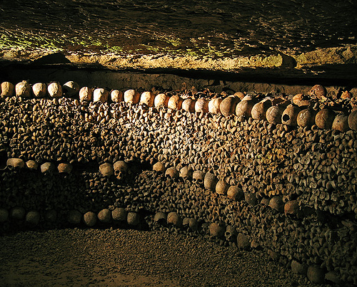The walls of the Catacombs of Paris