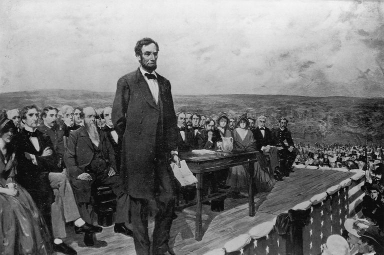 Abraham Lincoln during the Gettysburg Address