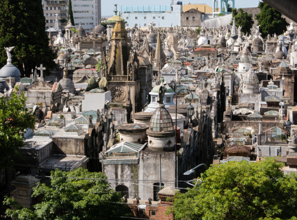 An aerial shot of the La Recoleta Cemetery