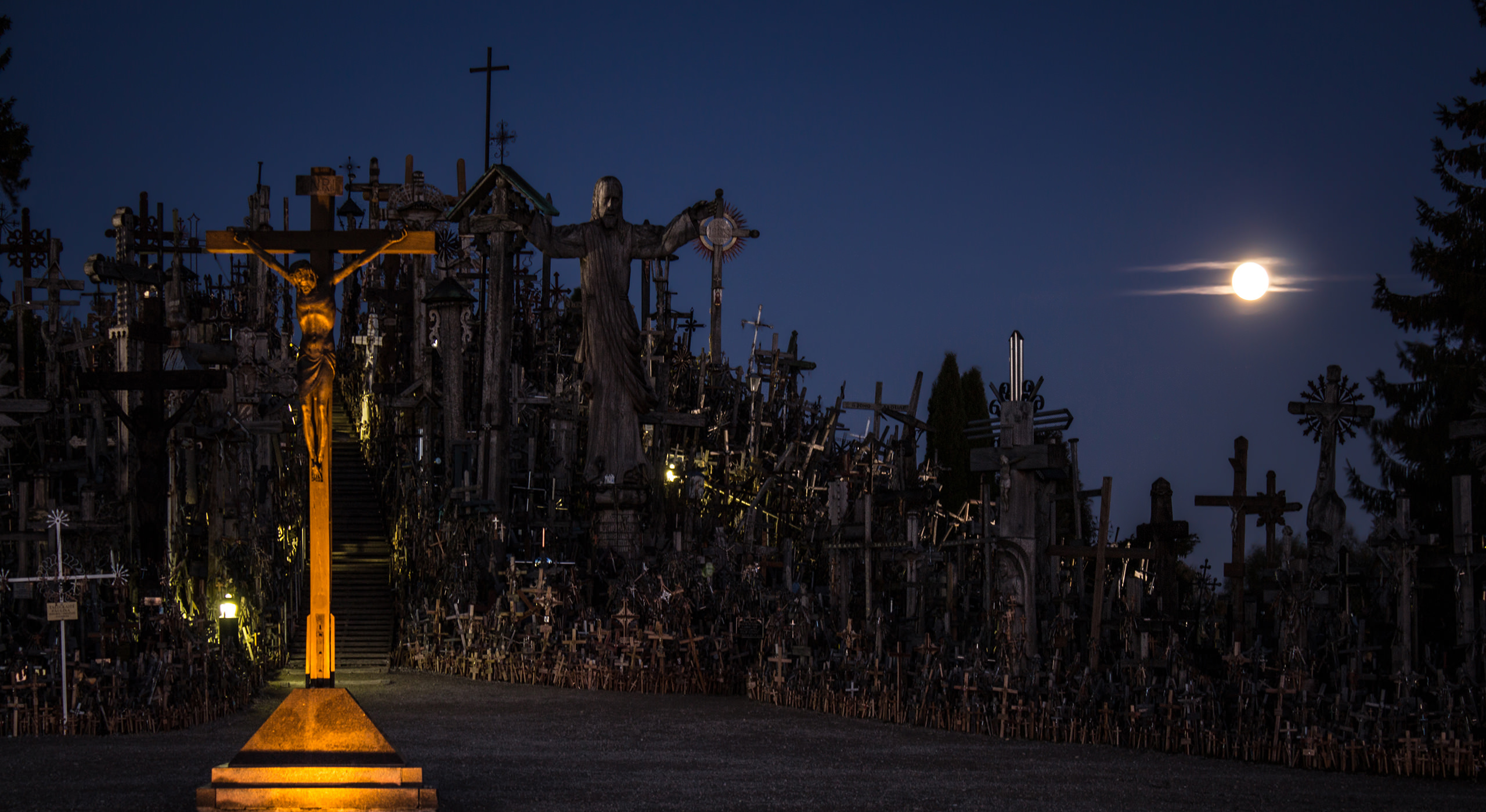 The Hill of Crosses at night