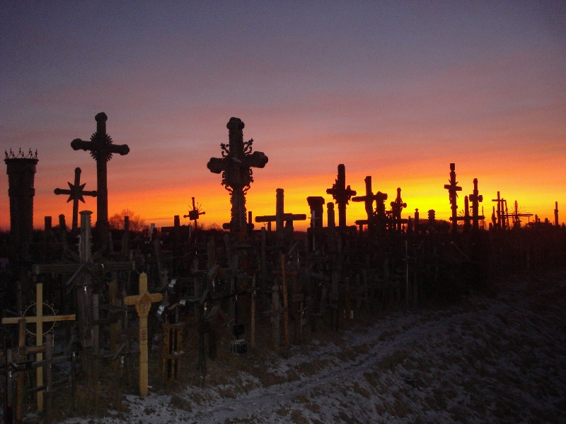 The Hill of Crosses at sunrise