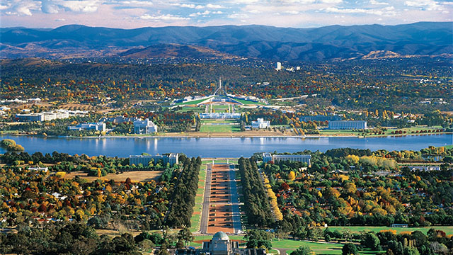 An aerial shot of Canberra
