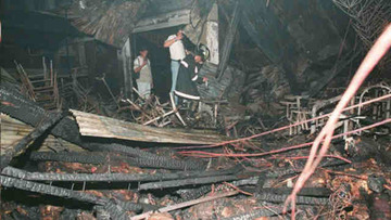 A photo showing the inside of the Ozone Disco after the fire