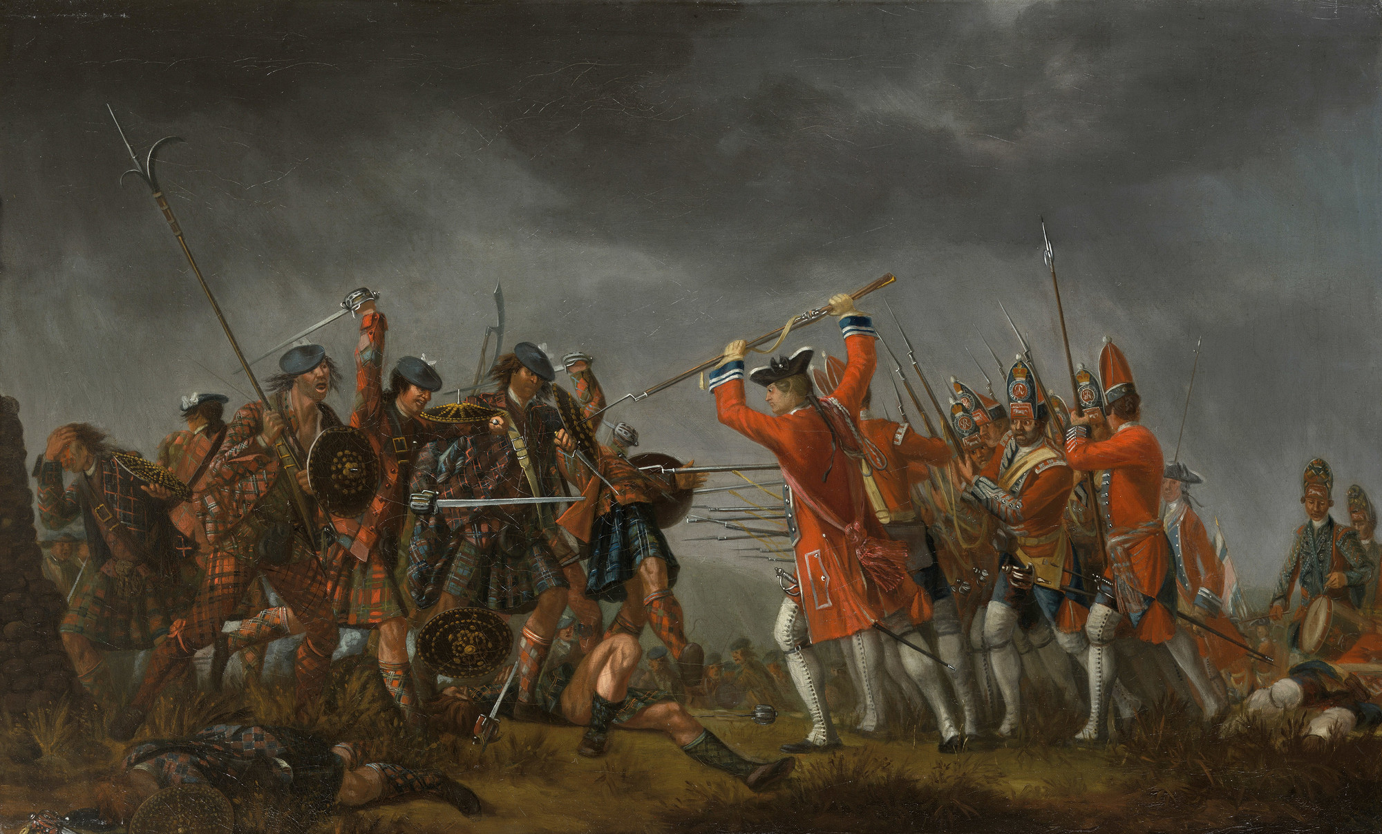A depiction of the battle at Culloden Moore