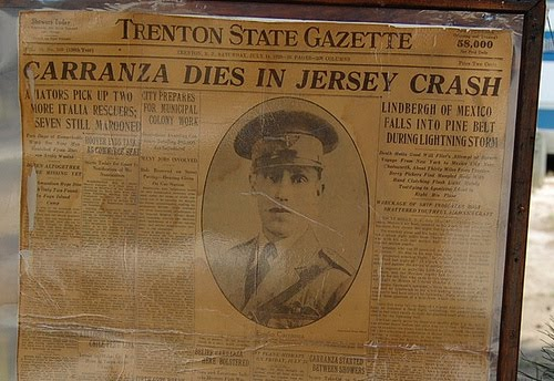 A photo of a newspaper talking of Captain Emilio Carranza's death