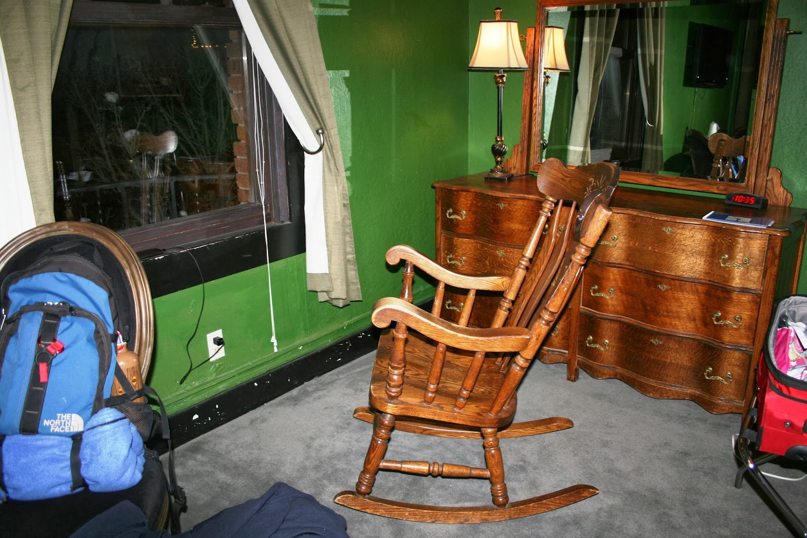 A photo of the infamous rocking chair at Hotel Monte Vista