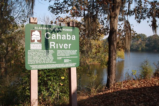A sign showing the Cahawba River