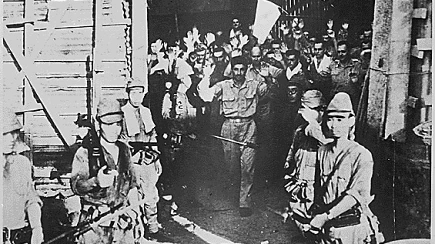American forces at the Malinta Tunnel surrendering to the Japanese