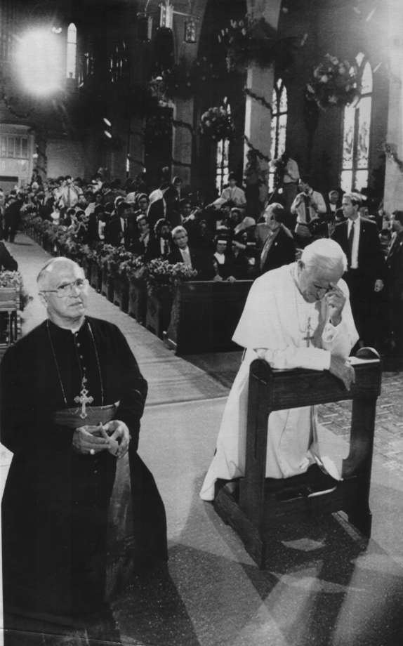 A photo of Pope John Paul II visiting the San Fernando Cathedral in 1987