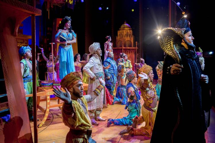 A photo of the Aladdin production at the New Amsterdam Theatre
