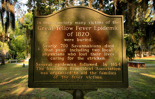 A sign showing the area where people who died of Yellow Fever are buried in Savannah