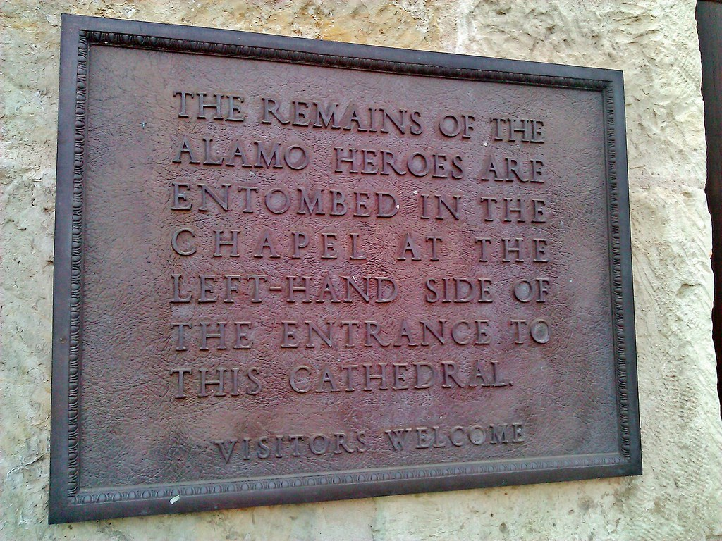 A sign talking about the remains buried under the San Fernando Cathedral