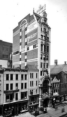 The New Amsterdam Theatre as seen from the outside in an old photo