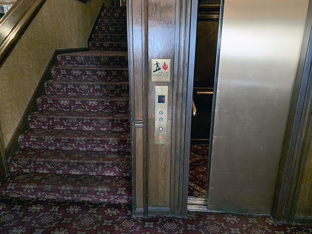 The elevator at the Mizpah Hotel