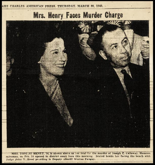 A news article showing Toni Jo Henry all smiles during trial