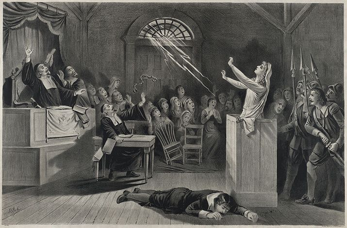An illustration showing the witch trials in Salem, Massachusetts