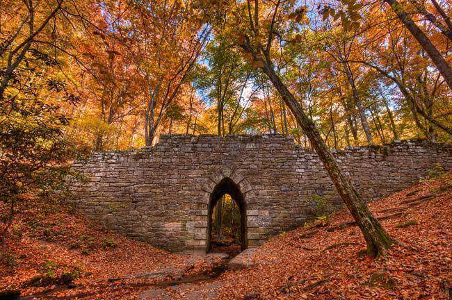 The Poinsett Bridge at daytime and during autumn