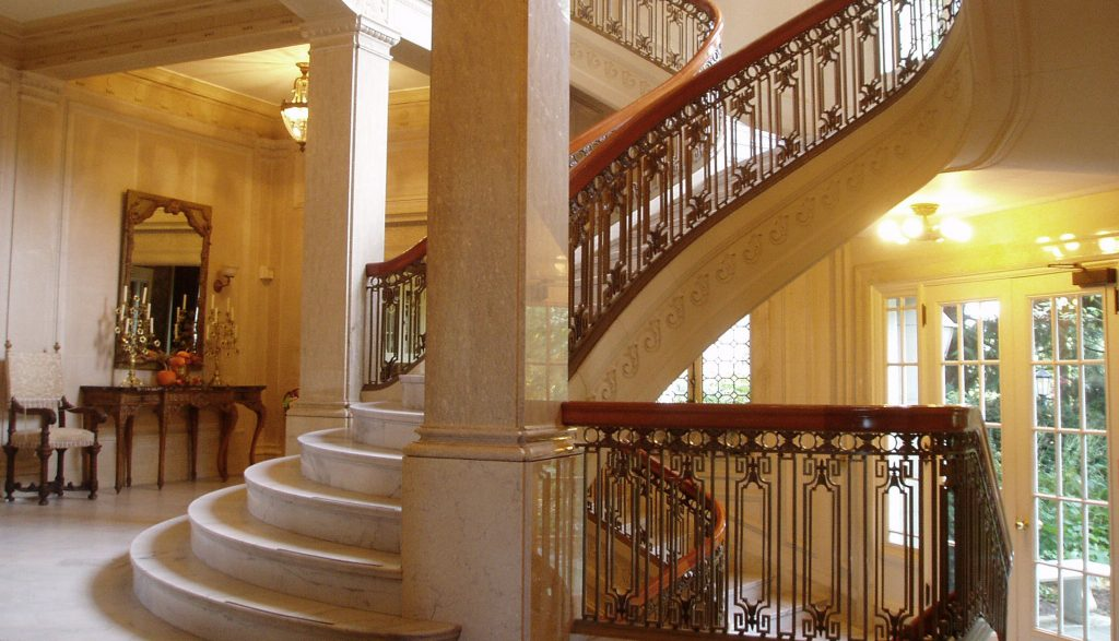 The staircase at the Pittock Mansion