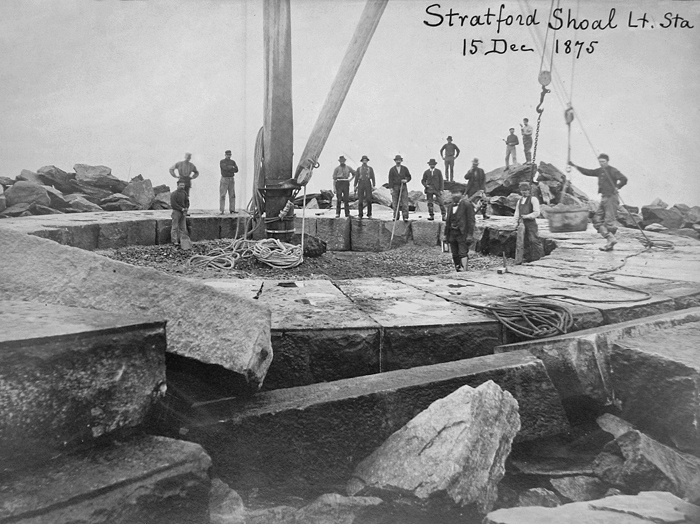 A photo showing the construction of the Startford Shoal Lighthouse