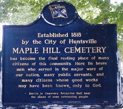 A sign at the Maple Hill Cemetery