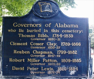 A sign showing the former governors of Alabama buried at the Maple Hill Cemetery