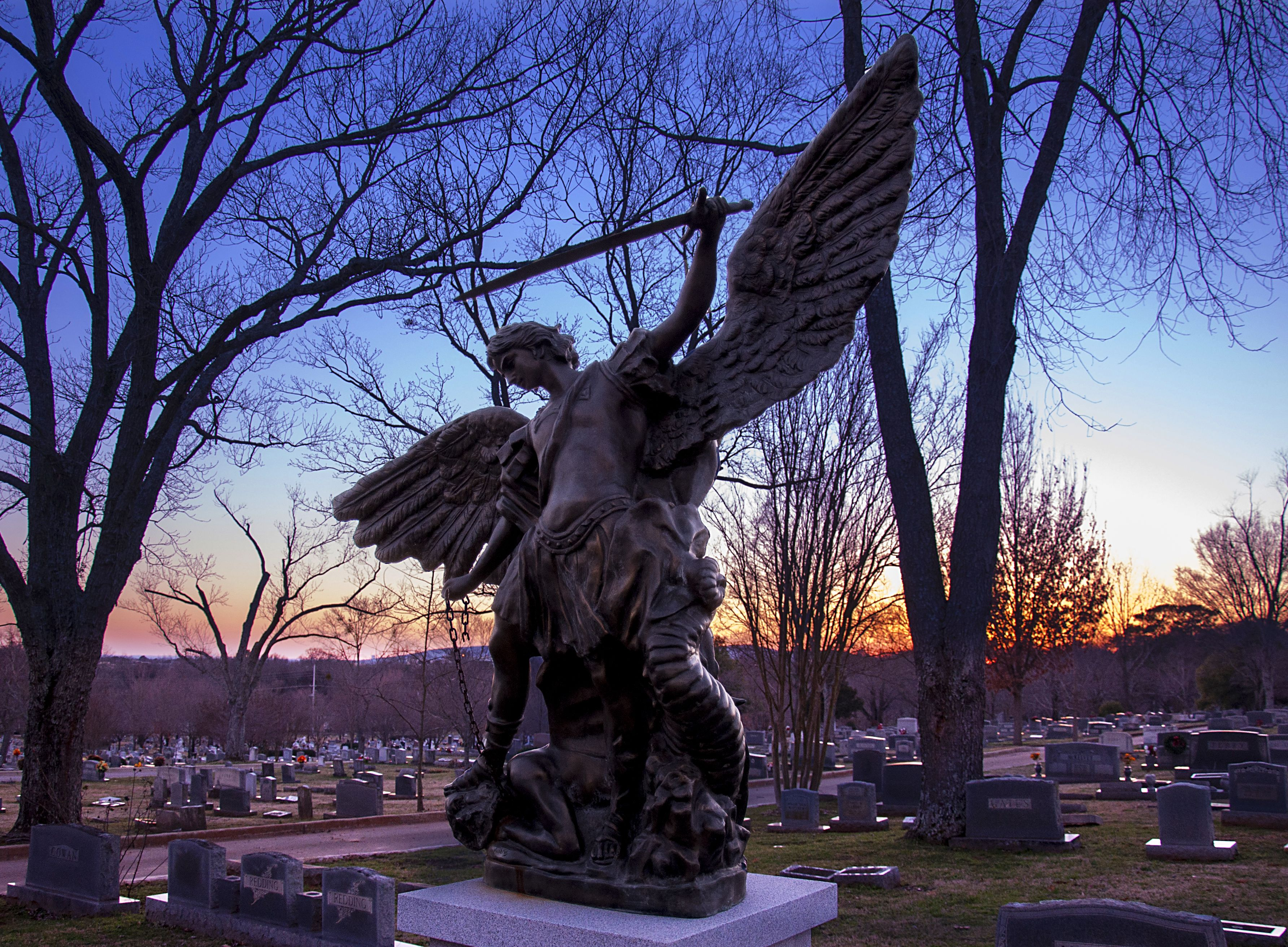 A statue in Maple Hill Cemetery