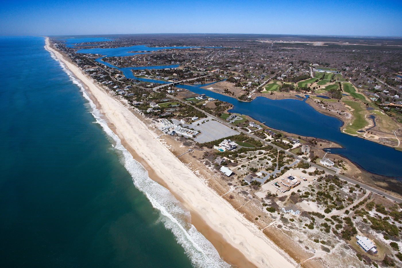 An aerial shot of the Hamptons in Long Island
