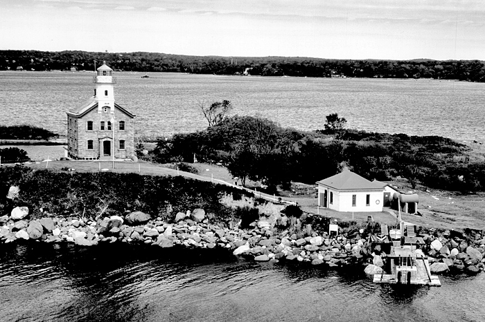 An old photo showing the Sheffield Island Lighthouse