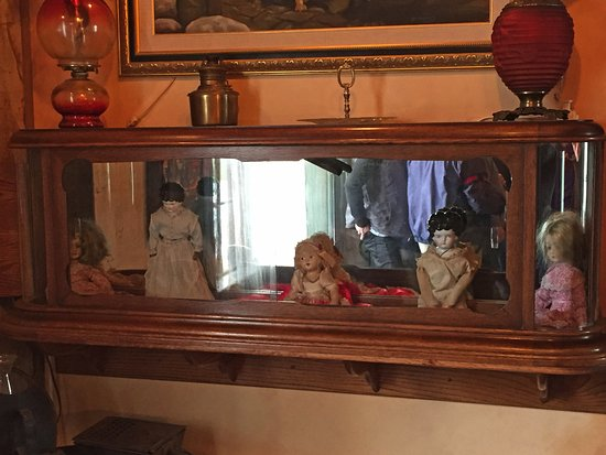 Some of the dolls at the Red Onion Saloon