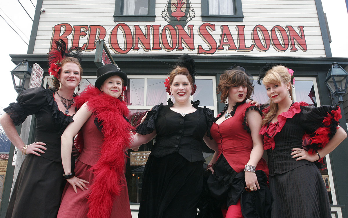 Some of the workers at the Red Onion Saloon