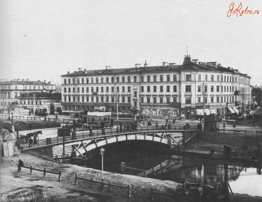 An old photo of Obvodny Canal