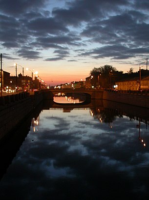 Sunset reflected at the Obvodny Canal
