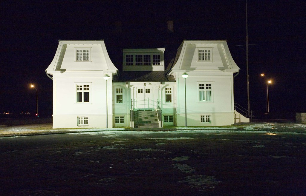 The Höfði House at night