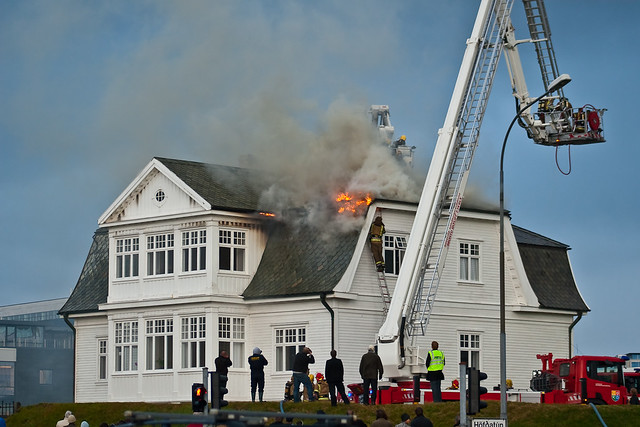 The Höfði House on fire in 2009