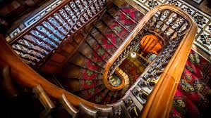 The spiraling stairs at Larnach Castle