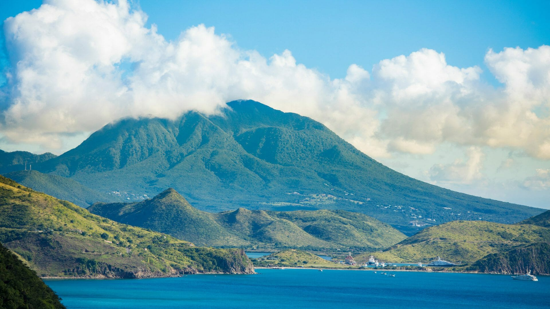 A scenic view showing Nevis