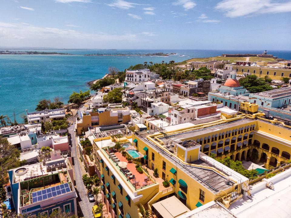 An aerial shot of San Juan, Puerto Rico
