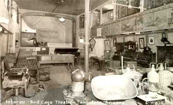 Inside the Bird Cage Theater in an undated photo