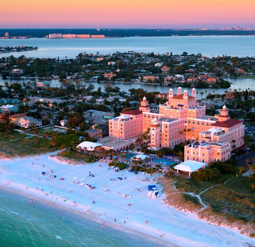 An aerial shot showing the Don CeSar Hotel