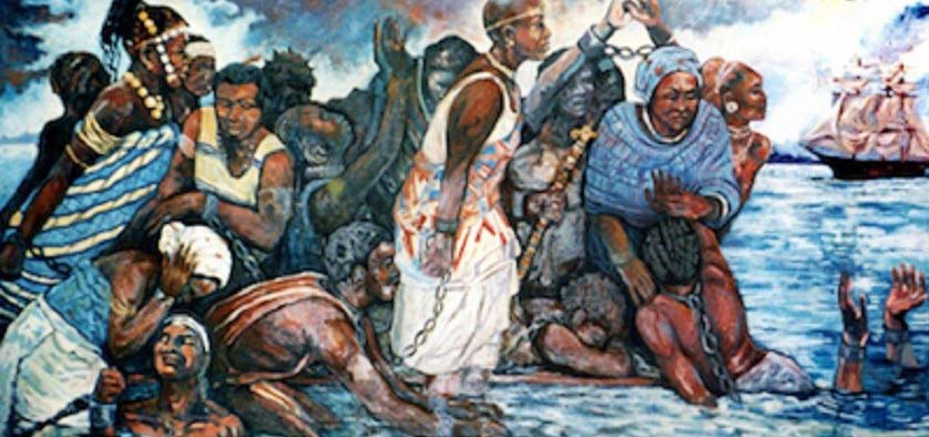 An artwork depicting the Igbo People's mass suicide