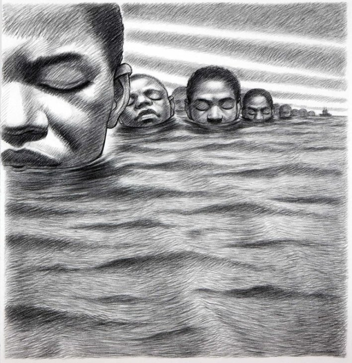 Another artwork showing the mass suicide by drowning of the Igbo people