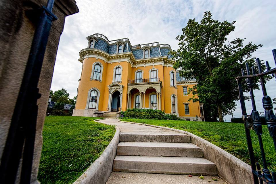 A photo of the stairs leading up to the Culbertson Mansion State Historic Site