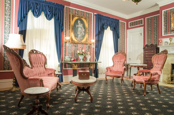 Some chairs inside the Culbertson Mansion State Historic Site