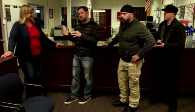 Some of the team members of 'Ghost Hunters' during their visit at the Pocatello High School